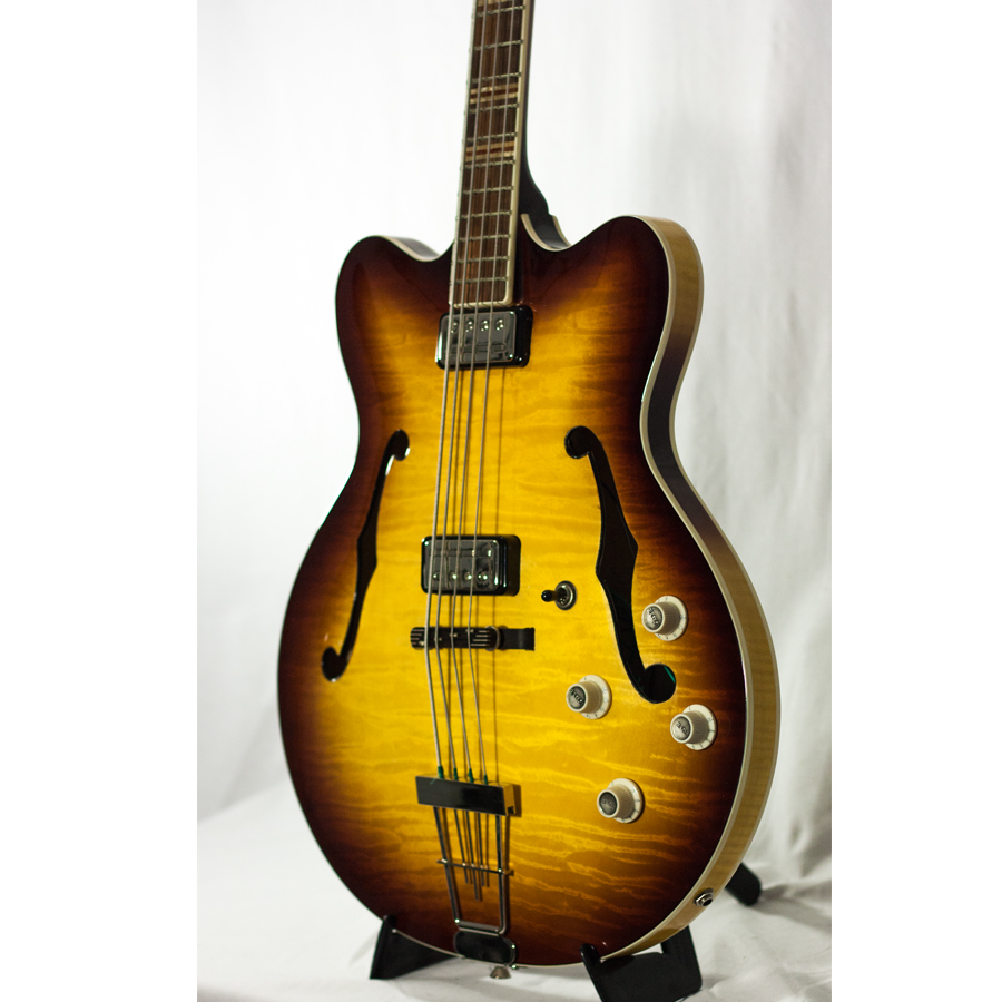 Hofner Contemporary Series Verythin Bass Guitar - Sunburst Side View
