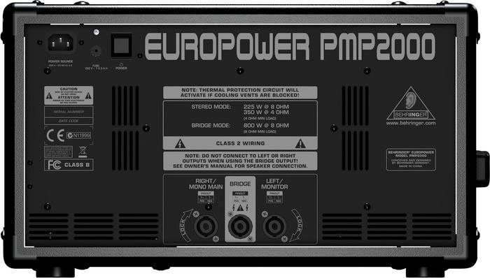 Behringer EuroPower PMP2000 Rear View