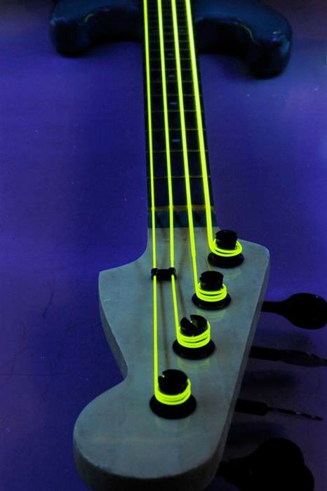 DR NYB-45 Neon Phosphorescent Bass Strings - Yellow On Bass In Dark