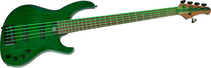 DR NGB5-45 Neon Phosphorescent Bass Strings - Green On Bass In Light
