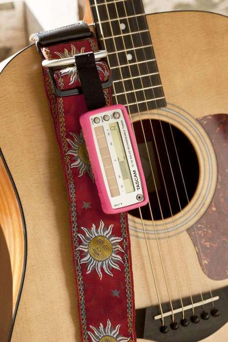 Tascam TC-1S White On Guitar in Pink