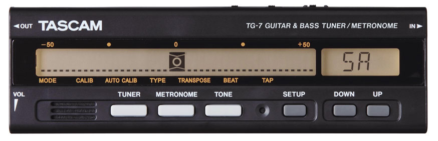 Tascam TG-7 Chromatic Guitar and Bass Tuner / Metronome, New!