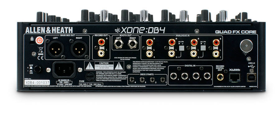 Allen Heath Xone:DB4 Rear View