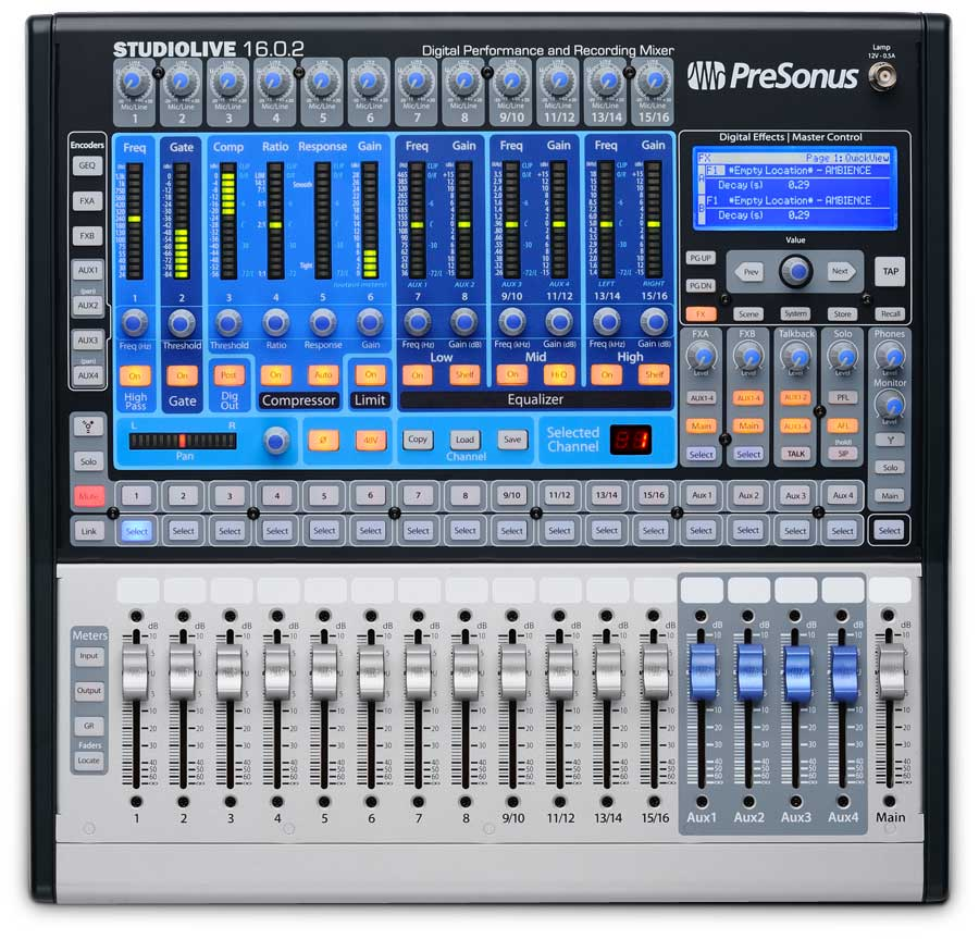 Presonus StudioLive 16.0.2 With AKG K601 Headphones Front View