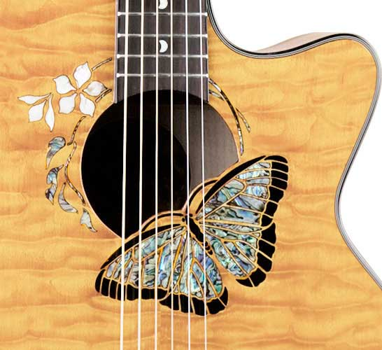 Luna Guitars Fauna Series Butterfly Detail