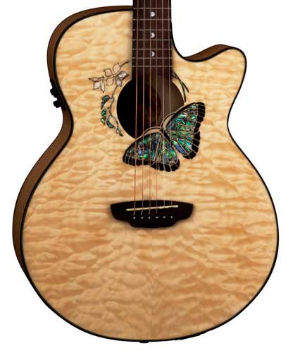 Luna Guitars Fauna Series Butterfly Body Detail