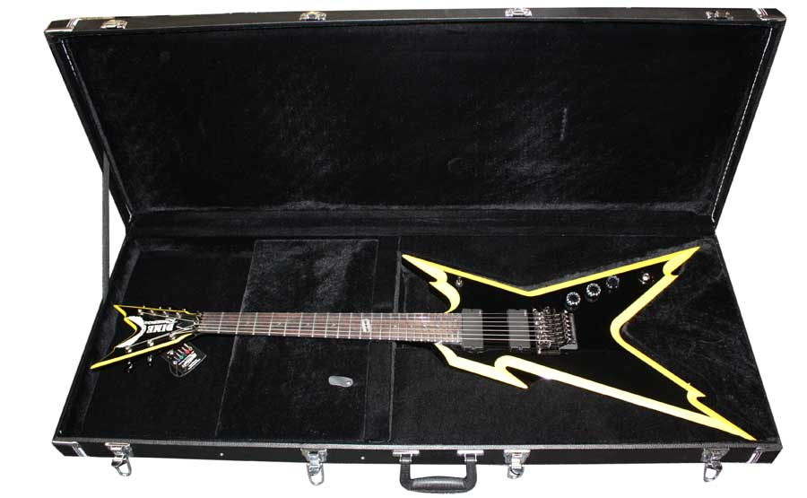 Dean Razorback 7 255 Classic Black w/ Yellow In Case