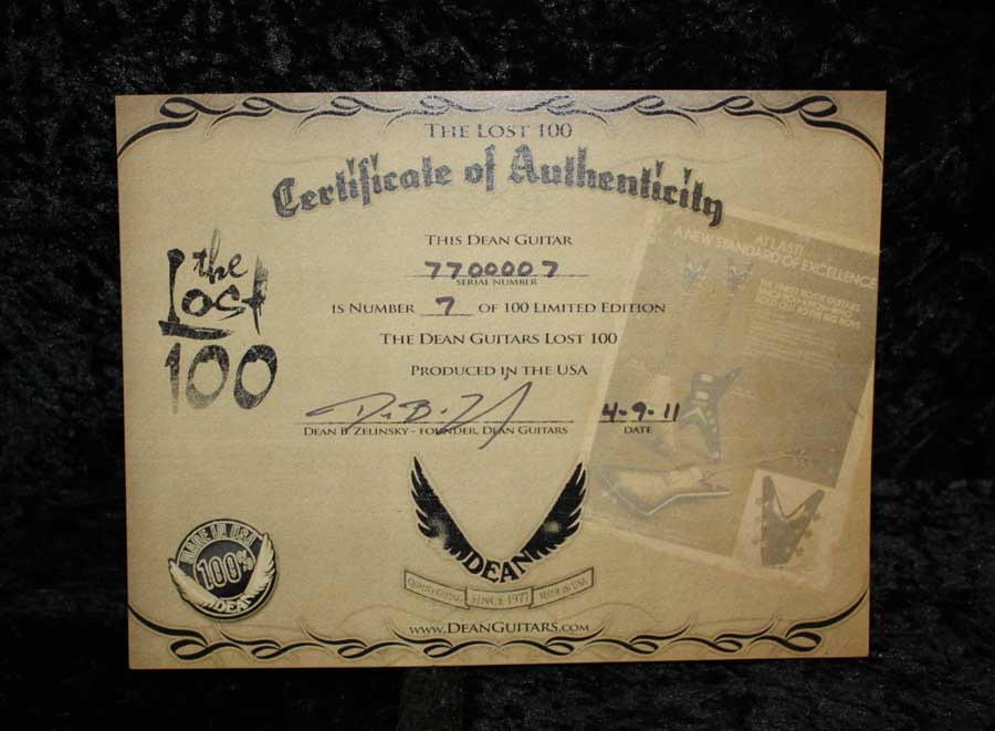 Dean USA V 77 Lost 100 - Cherry Burst X Stock Certificate of Authenticity