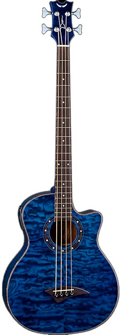 Exotica Quilt Ash Acoustic Electric Bass with Aphex - Trans Blue