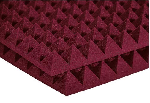 Auralex Studiofoam Pyramid - Twelve 2 Inch, 2x2 Foot Panels Burgendy