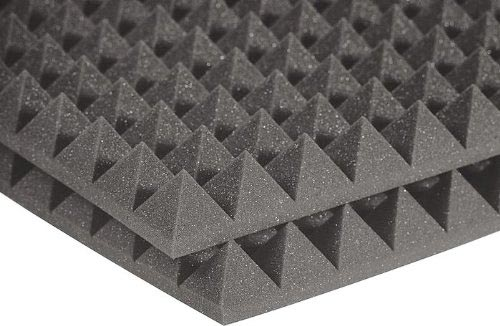Auralex Studiofoam Pyramid - Twelve 2 Inch, 2x2 Foot Panels Charcoal