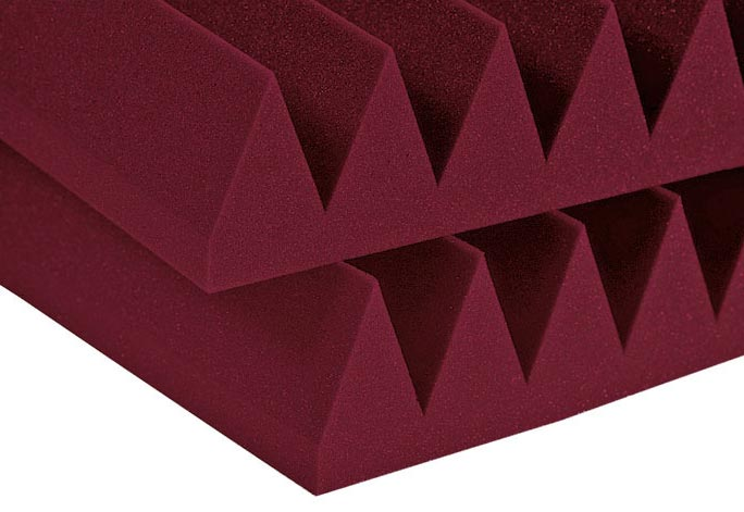 Studiofoam Wedge - Twelve 2 Inch, 2x2 Foot Panels - Burgendy