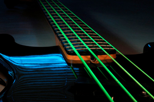 DR NGB-45 Neon Phosphorescent Bass Strings - Green On Bass in Dark