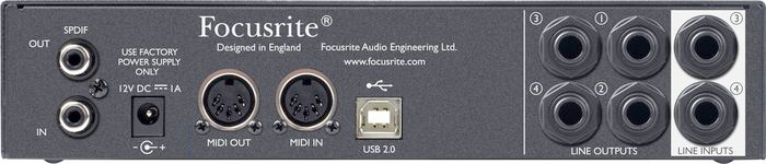 Focusrite Scarlett 8i6 Rear View