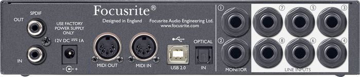 Focusrite Scarlett 18i6 Rear View
