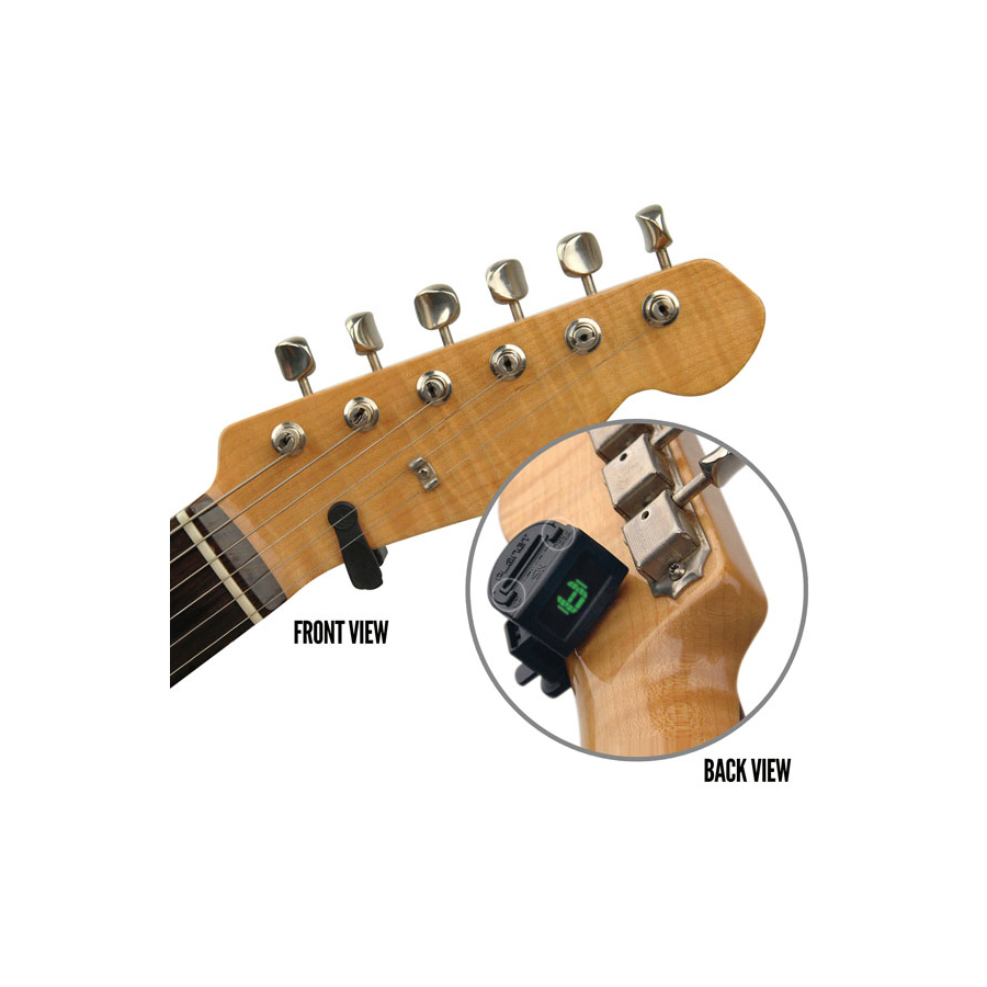 Planet Waves NS Mini Headstock Tuner Fron and Back Views