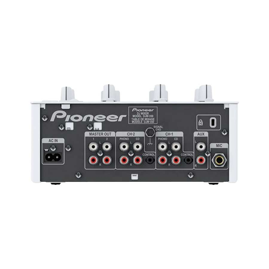 Pioneer DJM-350 White Rear View in Black