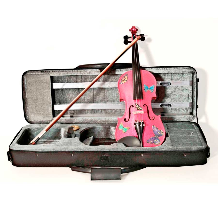 Rozannas Violins Butterfly Dream Fuchsia Violin Outfit 3/4 w/ Case