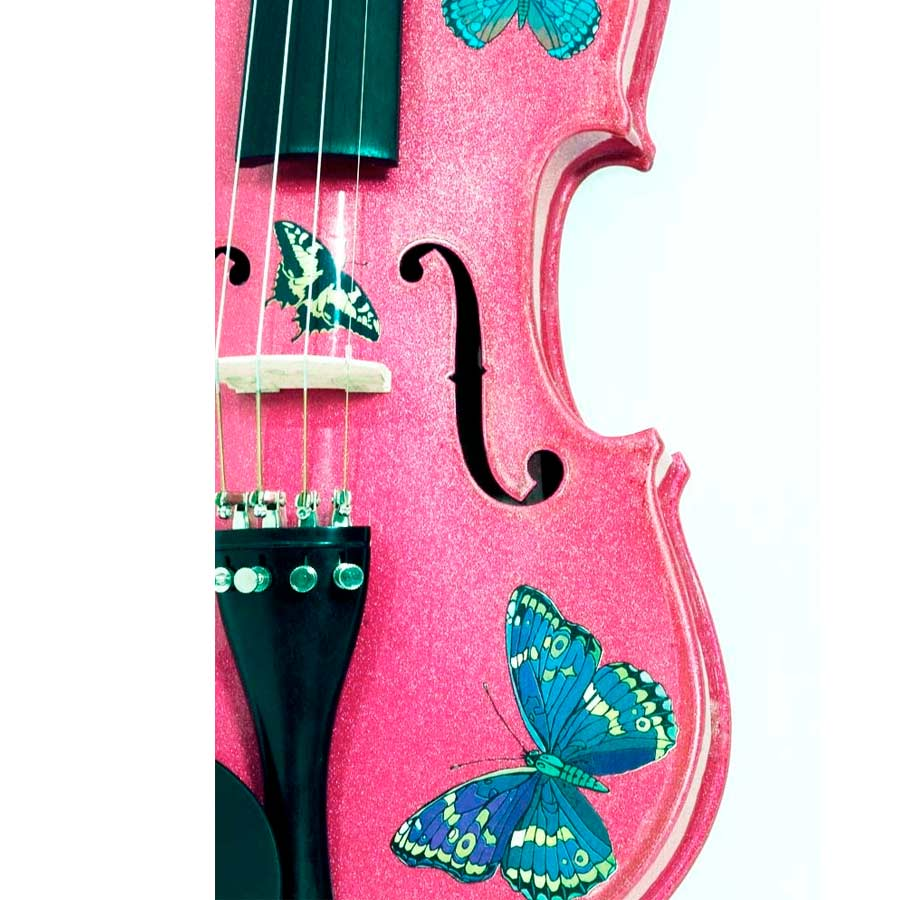 Rozannas Violins Butterfly Dream Fuchsia Violin Outfit 1/4 Detail View