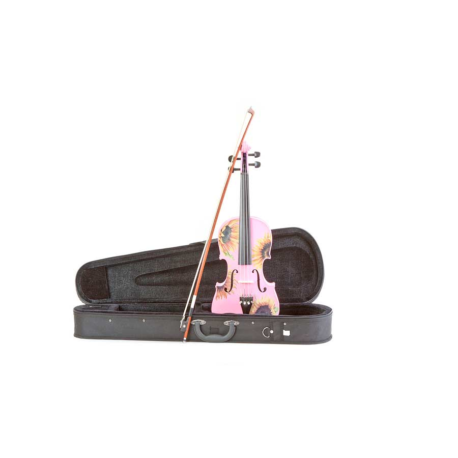 Rozannas Violins Sunflower Delight Pretty Pink Violin Outfit 1/4 w/ Case