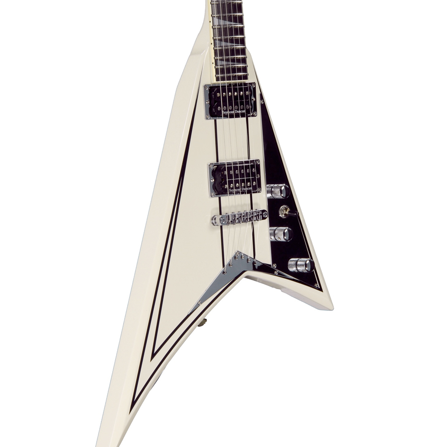 Jackson Rhoads Elite FSR Limited Ivory w/ Black Pinstripes Angled Body