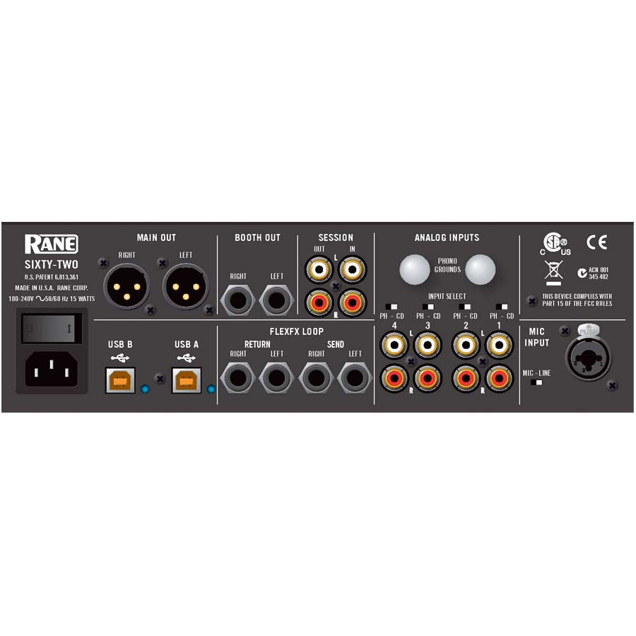 Rane Sixty-Two Rear Panel
