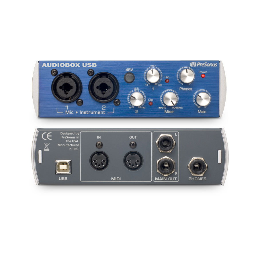 Presonus AudioBox Studio Recording Bundle Front and Rear View