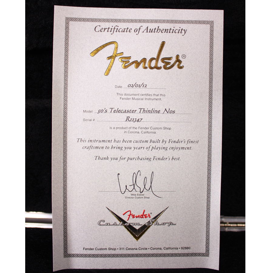 Fender Custom Shop 50's Thinline Telecaster NOS Nocaster Blonde Certificate