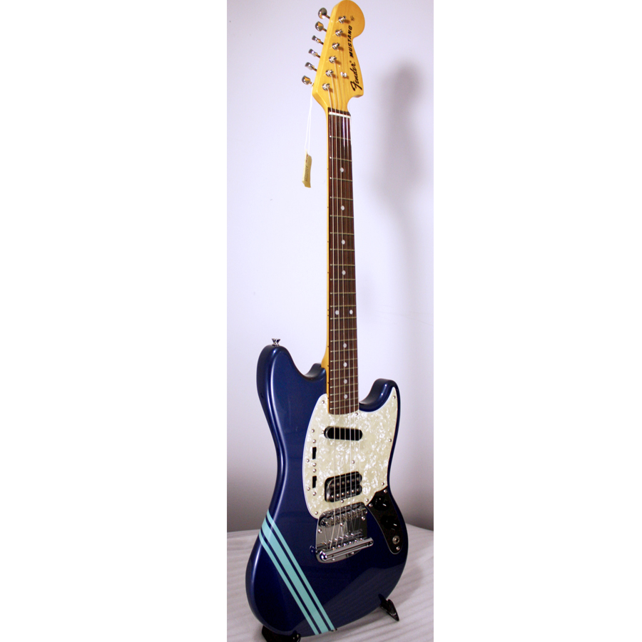 Fender Kurt Cobain Mustang Dark Lake Placid Blue with Stripe Angled View