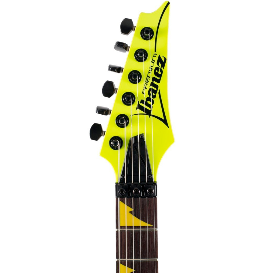 Ibanez RG1XXV Fluorescent Yellow Headstock Detail