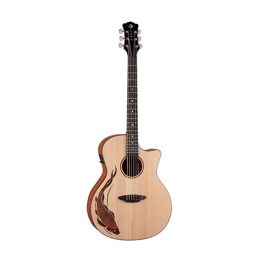 Luna guitars oracle koi 6 string folk acoustic electric for Koi fish guitar