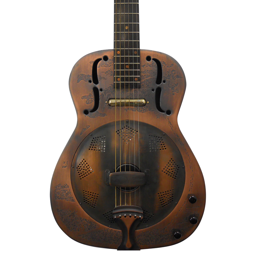Dean One-Of-A-Kind Heirloom Island Resonator - Engraved Distressed Copper Body Detail