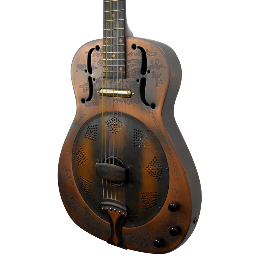 Dean One-Of-A-Kind Heirloom Island Resonator - Engraved Distressed Copper Body Angled Detail
