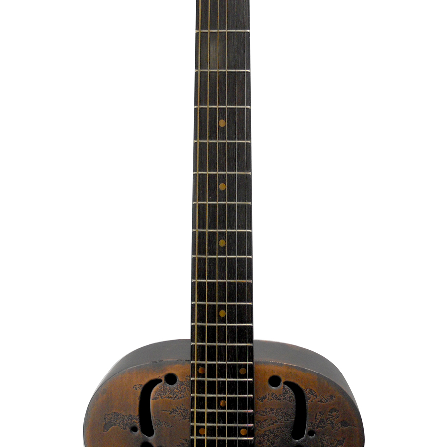 Dean One-Of-A-Kind Heirloom Island Resonator - Engraved Distressed Copper Neck Detail