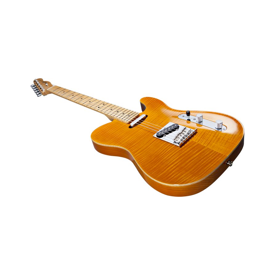 Fender Select Flame Maple Carved Top Telecaster Amber Angled View