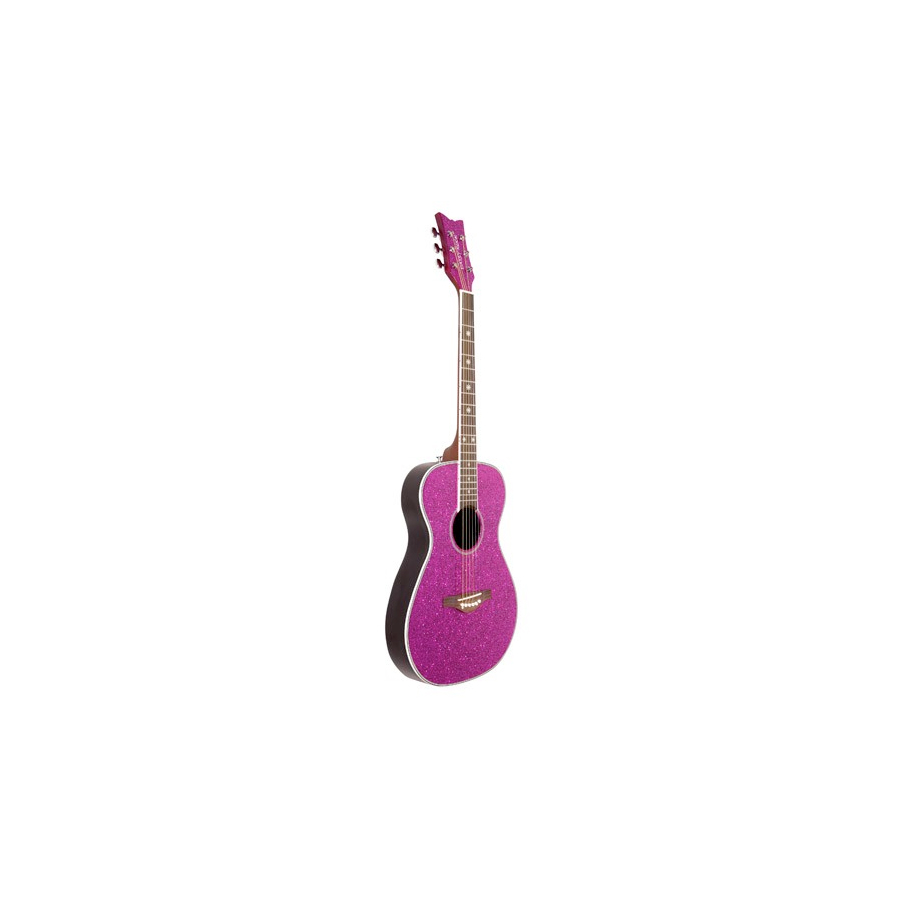 Daisy Rock Pixie Acoustic Left-Handed Pink Sparkle Angled View