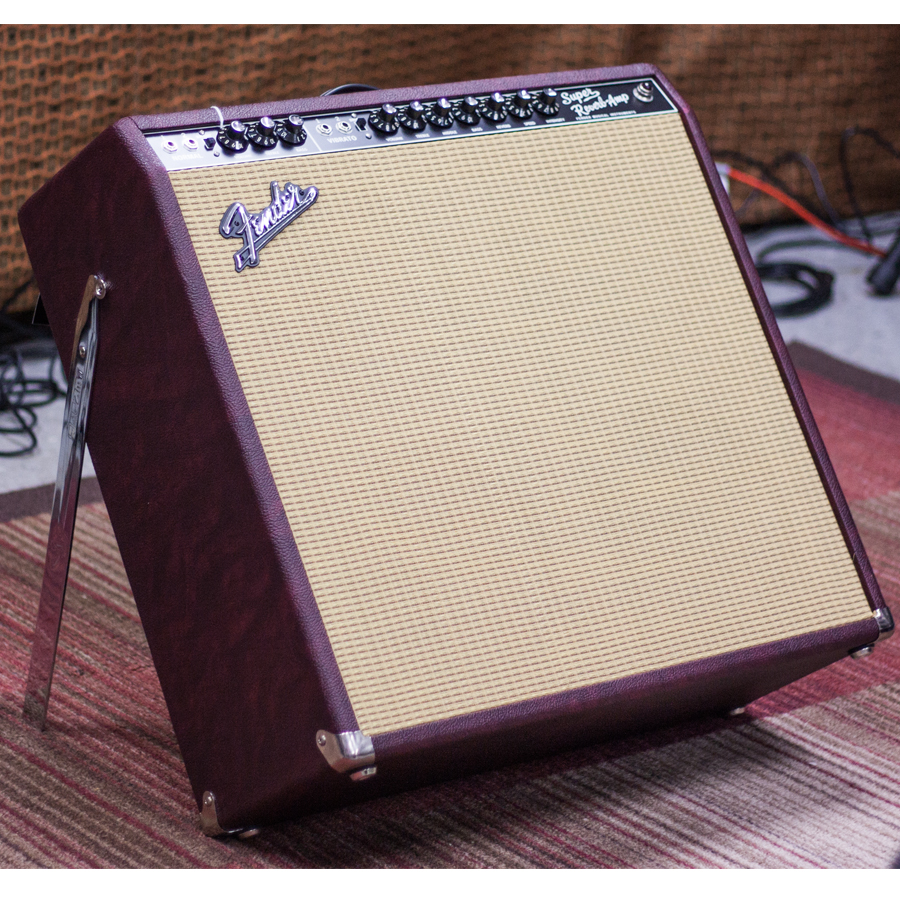 Fender FSR 65 Super Reverb Burgundy Wheat Angled View