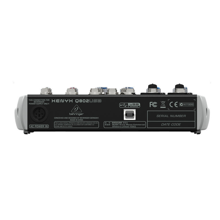 Behringer Q802USB  Rear View
