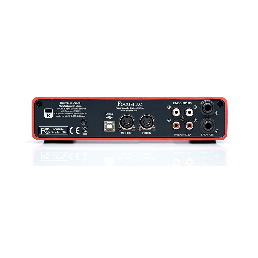 Focusrite Scarlett 2i4 USB Rear View