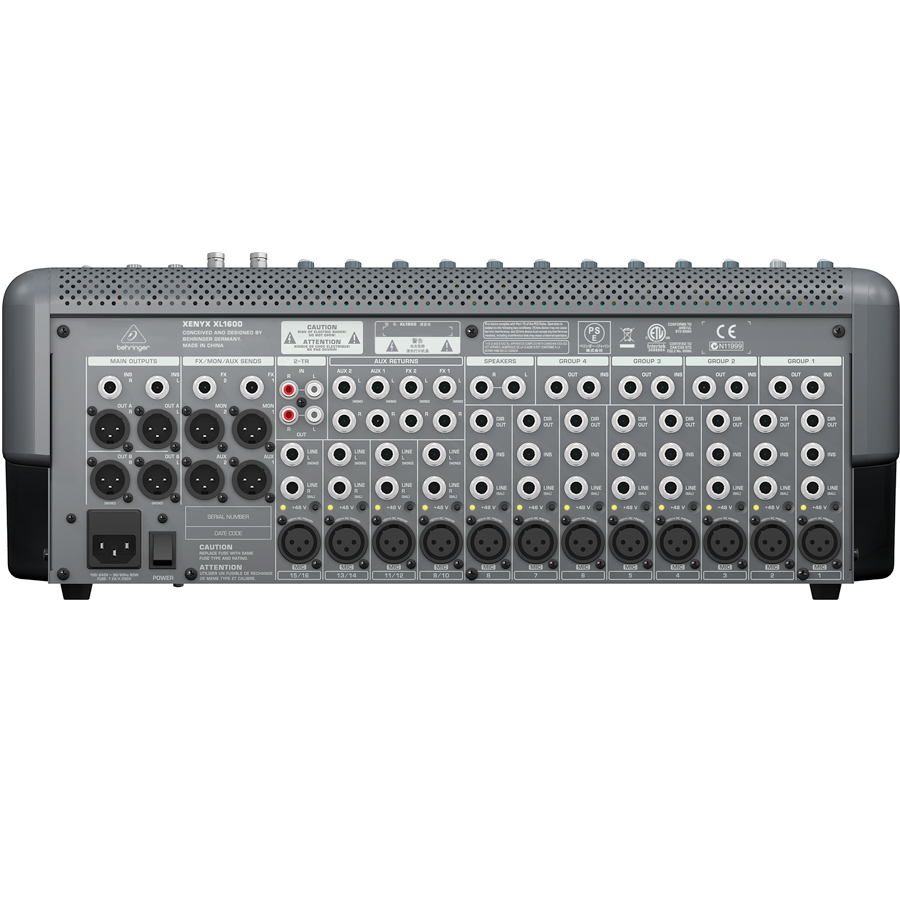 Behringer XENYX XL1600 Rear View