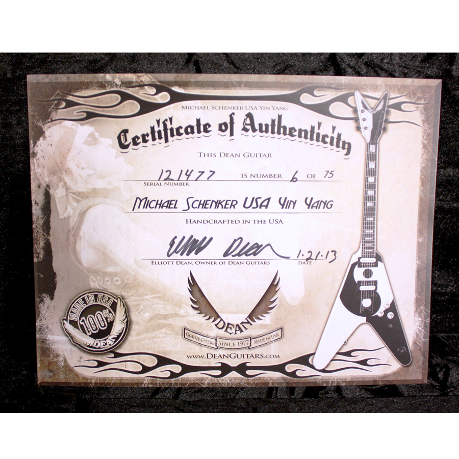 Dean USA Michael Schenker Yin Yang Certificate of Authenticity