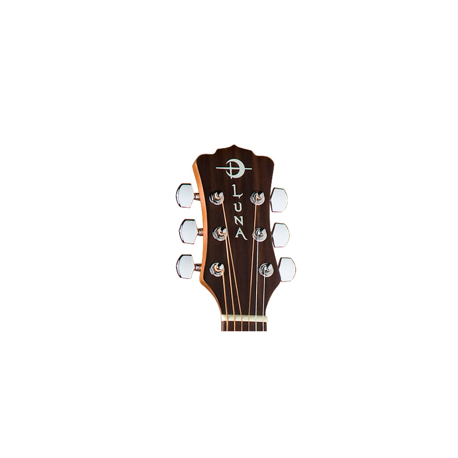 Luna Guitars Gypsy Henna Headstock Detail