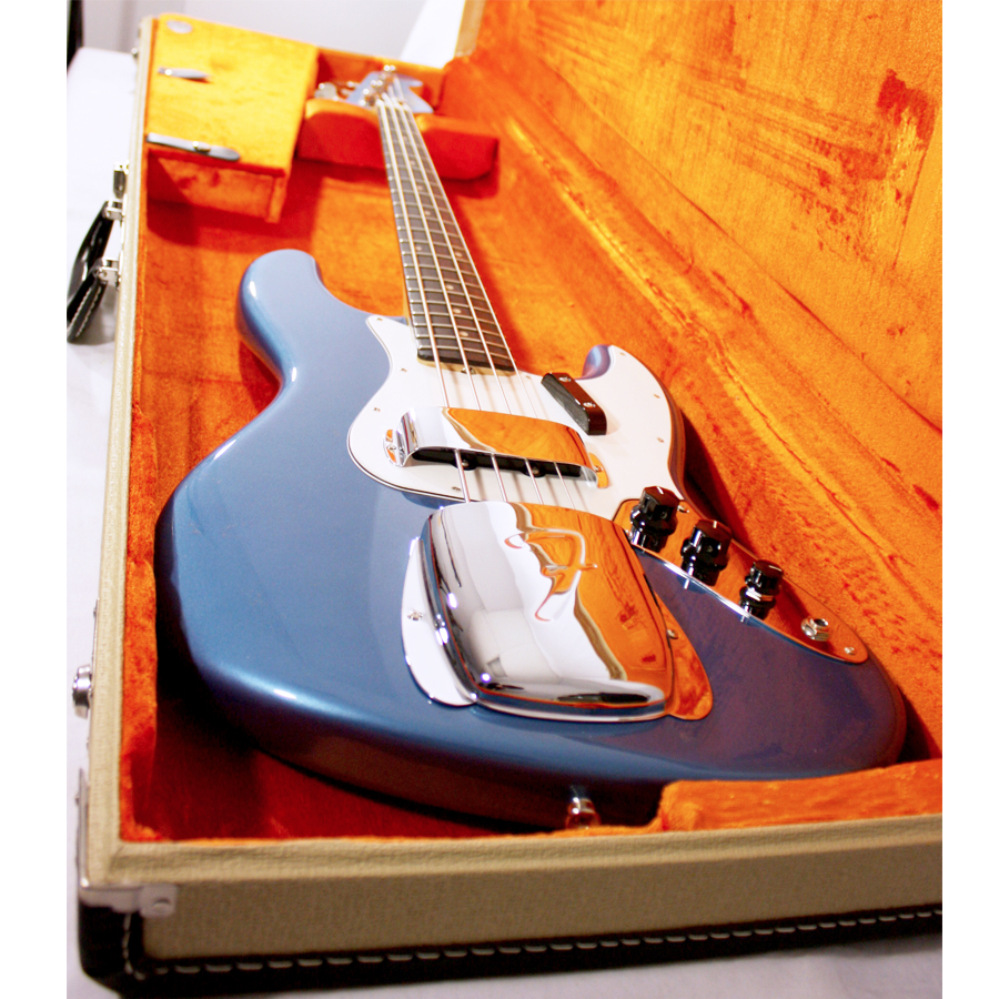Fender American Vintage 64 Jazz Bass Lake Placid Blue Guitar Angled