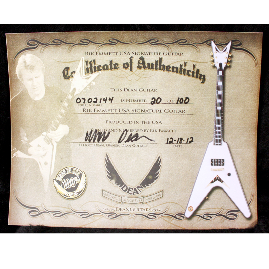 Dean Rik Emmett USA Signature Guitar Certificate of Authenticity