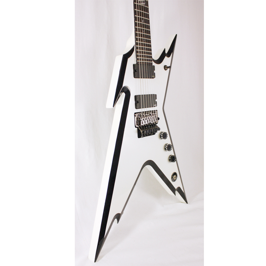 Dean Razorback 7 255 Metallic White CBK Body Detail