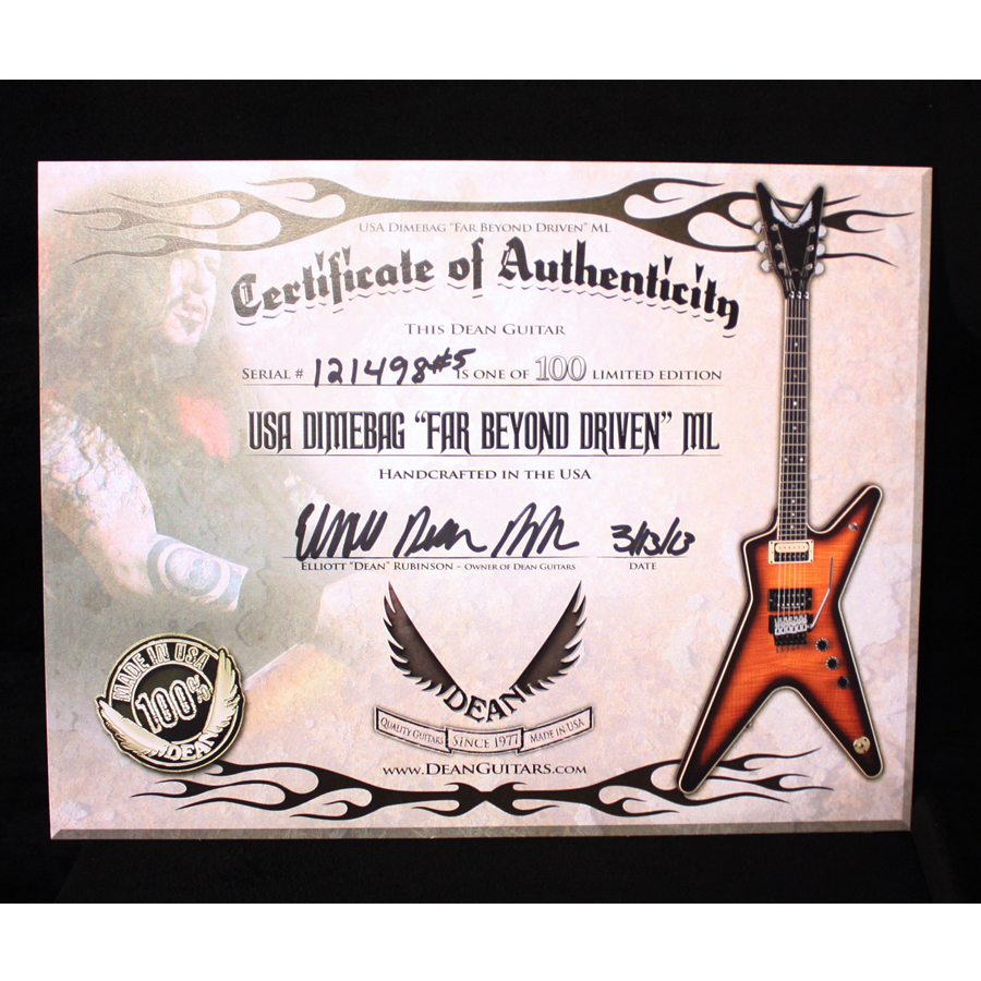 Dean USA Dimebag Far Beyond Driven ML  Certificate of Authenticity