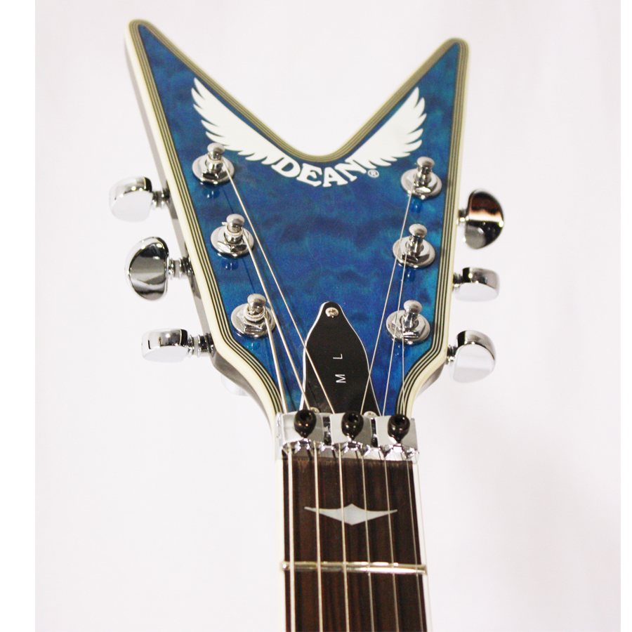 Dean Custom Run 8 ML Switchblade Transparent Blue Headstock