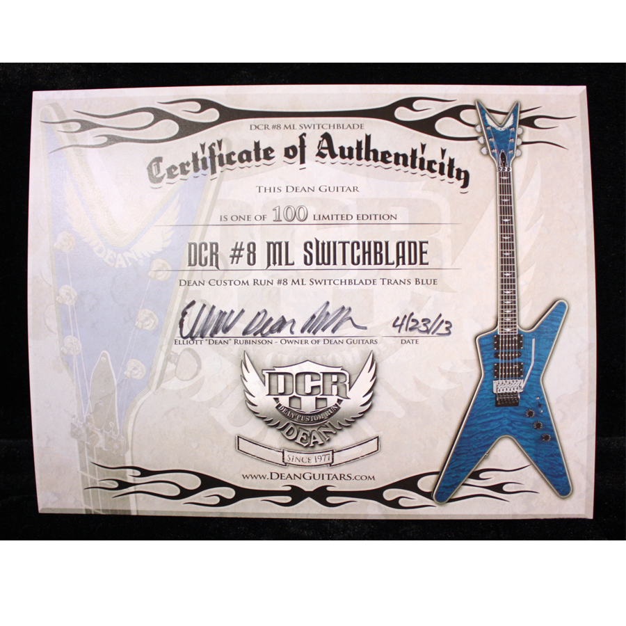 Dean Custom Run 8 ML Switchblade Transparent Blue Certificate of Authenticity