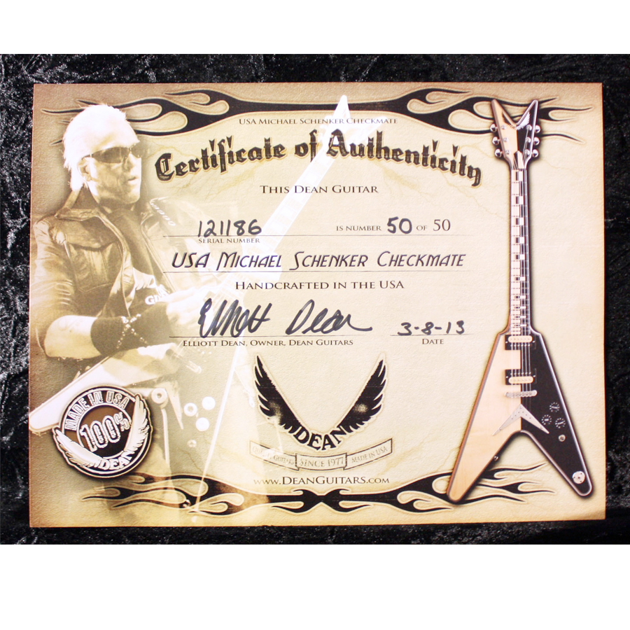 Dean USA Michael Schenker Signature V Checkmate Certificate of Authenticity