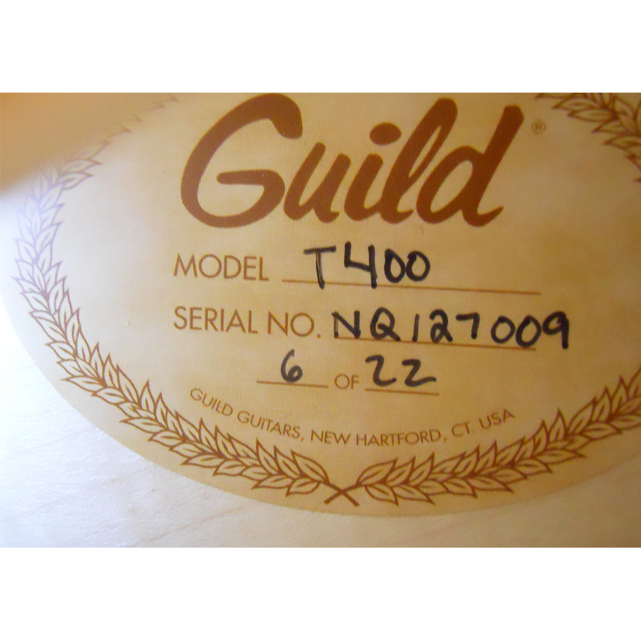 Guild GSR T-400 Blonde Interior Label